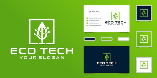 Logotipo da árvore de dados de tecnologia e inspiração de cartão de visita