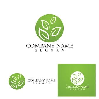 Logotipo da árvore de folhas verdes e vetor de símbolo eps10