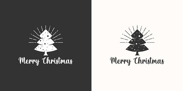 Logotipo da árvore de natal vintage retrô preto branco