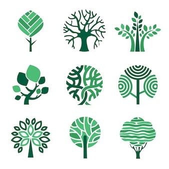 Logotipo da árvore eco verde símbolos natureza madeira árvore estilizada fotos