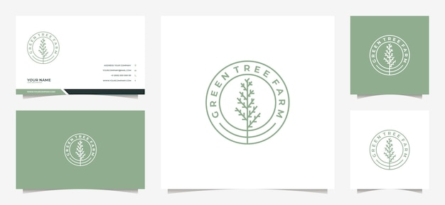 Logotipo da árvore moderna e cartão de visita