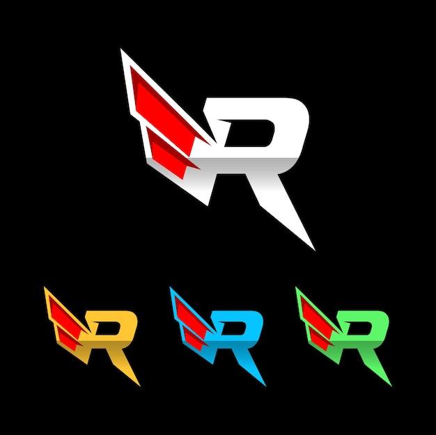 Logotipo da asa da letra r logotipo de corridas automotivas logotipo da empresa de esportespremium vector
