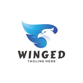 Logotipo da asa do falcão do falcão da águia do pássaro