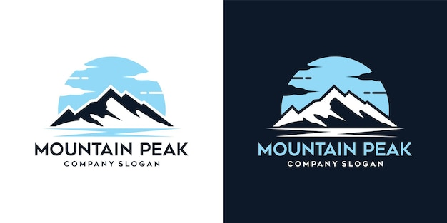 Logotipo da aventura no pico da montanha