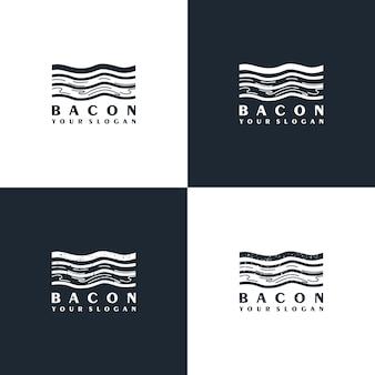 Logotipo da bacon com arte de linha minimalista para referência de negócios