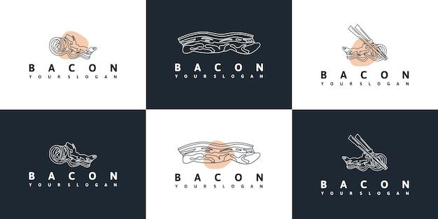 Logotipo da bacon com arte de linha para referência de negócios