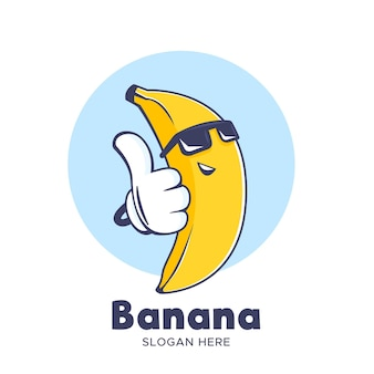 Logotipo da banana legal usando óculos escuros