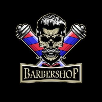 Logotipo da barbearia de caveira com mascote de ilustração de caveira