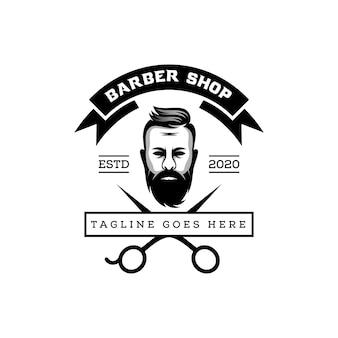 Logotipo da barbearia impressionante, corte de cabelo de homem barba, modelo de logotipo
