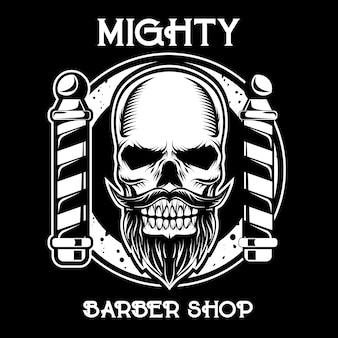 Logotipo da barbearia no fundo escuro