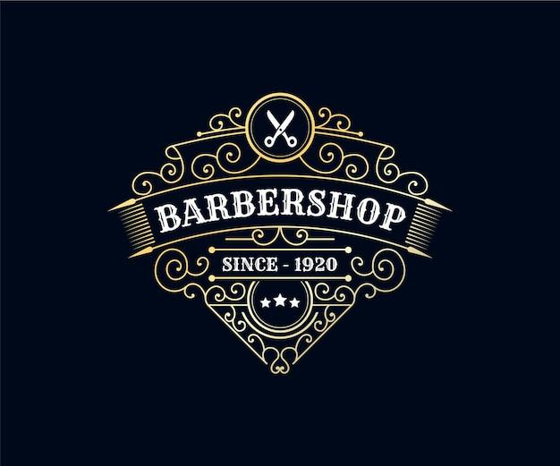 Logotipo da barbearia, salão de beleza e spa com luxo real vintage premium