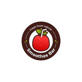 Logotipo da barra de suco de frutas de maçã vermelha