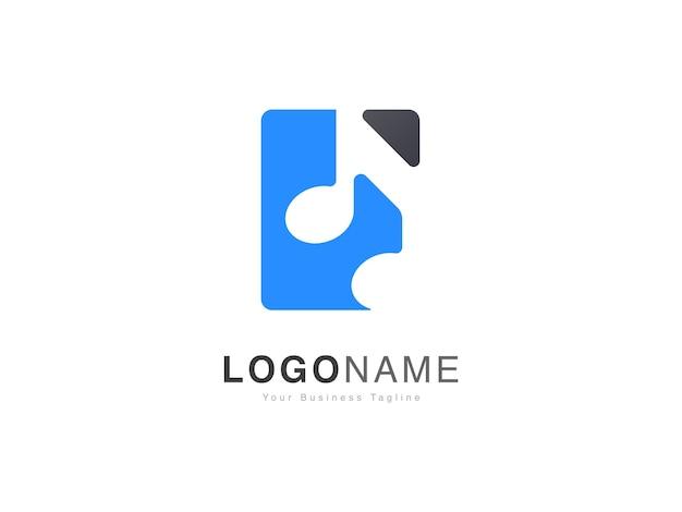 Logotipo da base da onda sonora musical com estilo gradiente