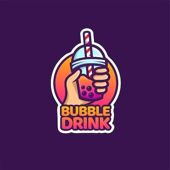 Logotipo da bebida em bolha para milkshake, chá tailandês, pérola, bebida doce de suco de frutas