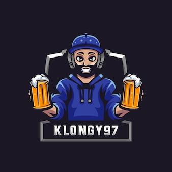 Logotipo da beer gamer mascot