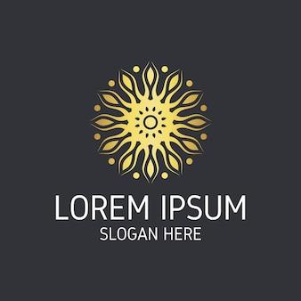 Logotipo da bela mandala dourada geométrica.
