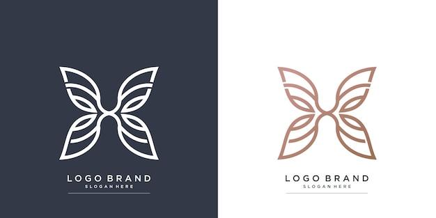 Logotipo da beleza com conceito de borboleta premium vector parte 1