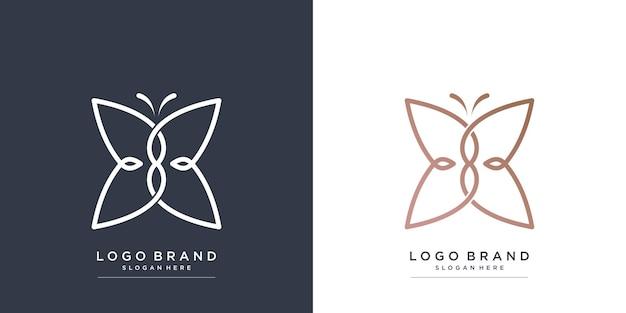 Logotipo da beleza com conceito de borboleta premium vector parte 2