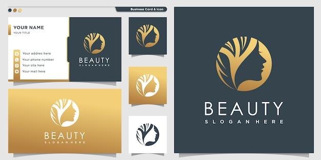Logotipo da beleza com estilo dourado para mulheres e modelo de design de cartão de visita