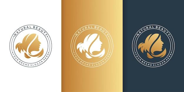 Logotipo da beleza com gradiente moderno