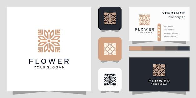 Logotipo da beleza da flor e cartão de visita.