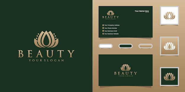 Logotipo da beleza da flor para spa, natureza, modelos de design de salão de beleza e cartões de visita