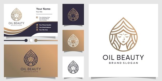 Logotipo da beleza do óleo com conceito moderno criativo e design de cartão de visita