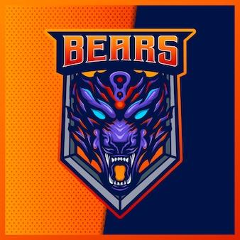 Logotipo da besta do urso pardo irritado e mascote do esporte