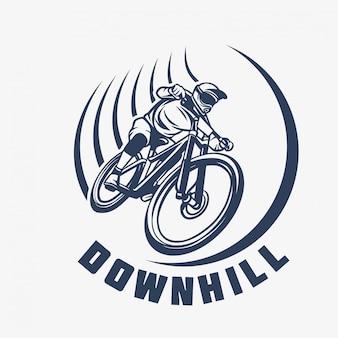 Logotipo da bicicleta de montanha em declive