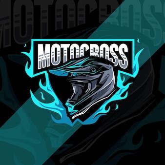 Logotipo da bicicleta de motocross de capacete