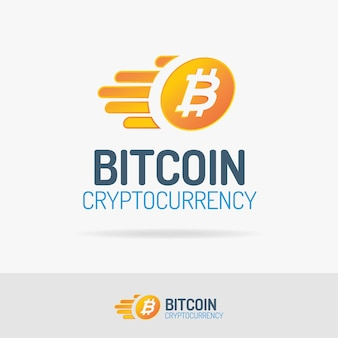 Logotipo da bitcoin definido estilo de cor com moeda voadora