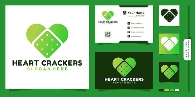 Logotipo da bolacha com conceito moderno em forma de coração e design de cartão de visita