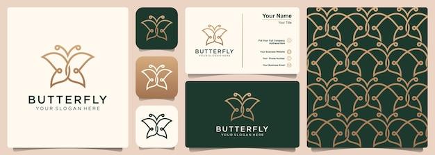 Logotipo da borboleta com um conjunto de design de logotipo, padrão e cartão de visita. conceito de luxo, beleza, natureza