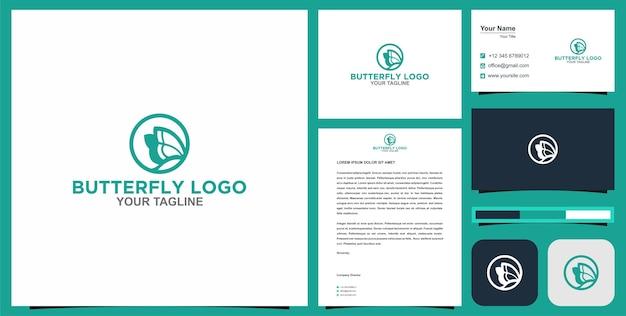 Logotipo da borboleta e cartão de visita