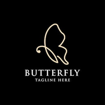 Logotipo da borboleta voadora com estilo de arte de linha minimalista simples