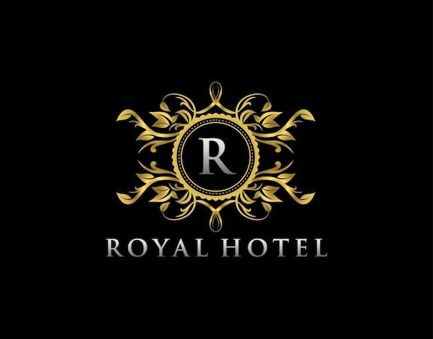 Logotipo da boutique de luxo r letter stamp boutique hotel joias heráldicas casamento