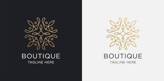 Logotipo da boutique, linha de estilo de arte de luxo e modelo de logotipo dourado