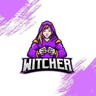 Logotipo da bruxa mascote do jogador
