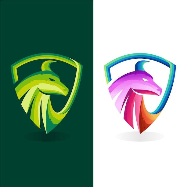 Logotipo da bull com conceito de escudo conceito de cor gradiente