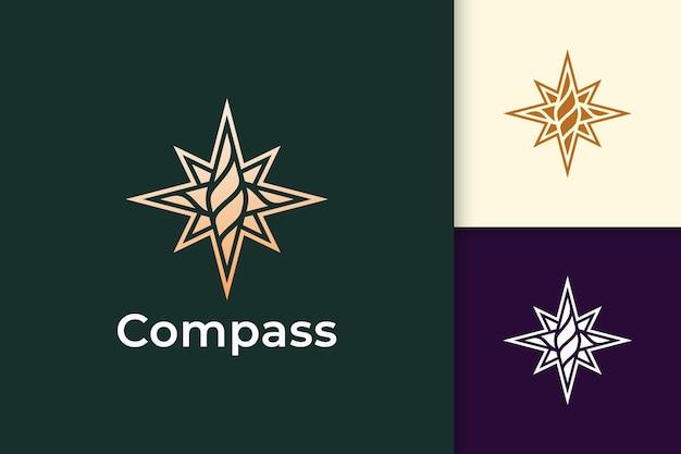 Logotipo da bússola em estilo moderno e luxuoso com cor dourada