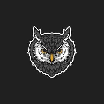 Logotipo da cabeça da coruja