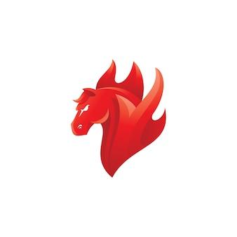 Logotipo da cabeça de cavalo e mascote do fogo