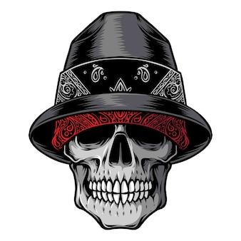 Logotipo da cabeça de gangster do crânio
