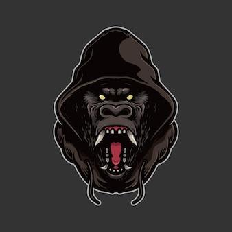 Logotipo da cabeça de gorila com capuz