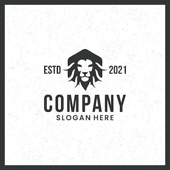 Logotipo da cabeça de leão, força, preto e branco, marca registrada, com conceito de hexágono