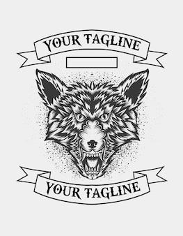 Logotipo da cabeça de lobo irritado