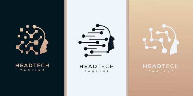 Logotipo da cabeça de tecnologia, modelos de design de logotipo de rede de tecnologia robótica