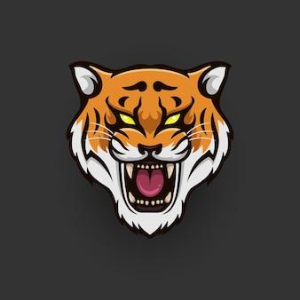 Logotipo da cabeça de tigre com rosto sorridente Vetor Premium
