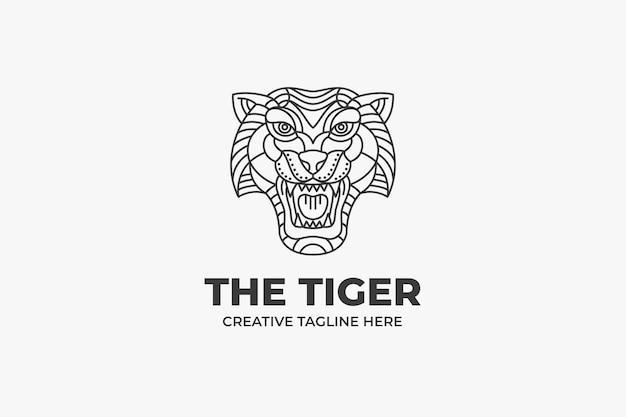 Logotipo da cabeça de tigre em preto e branco