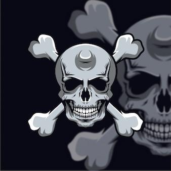 Logotipo da cabeça do crânio esport